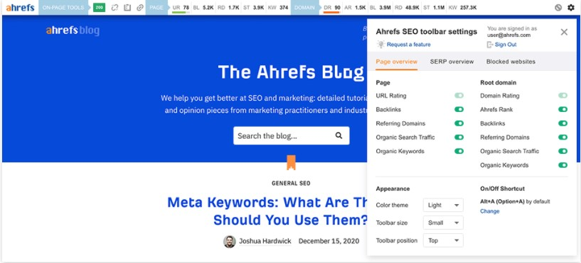 Ahrefs Toolbar-The Beginner's Guide to Technical SEO in 2022