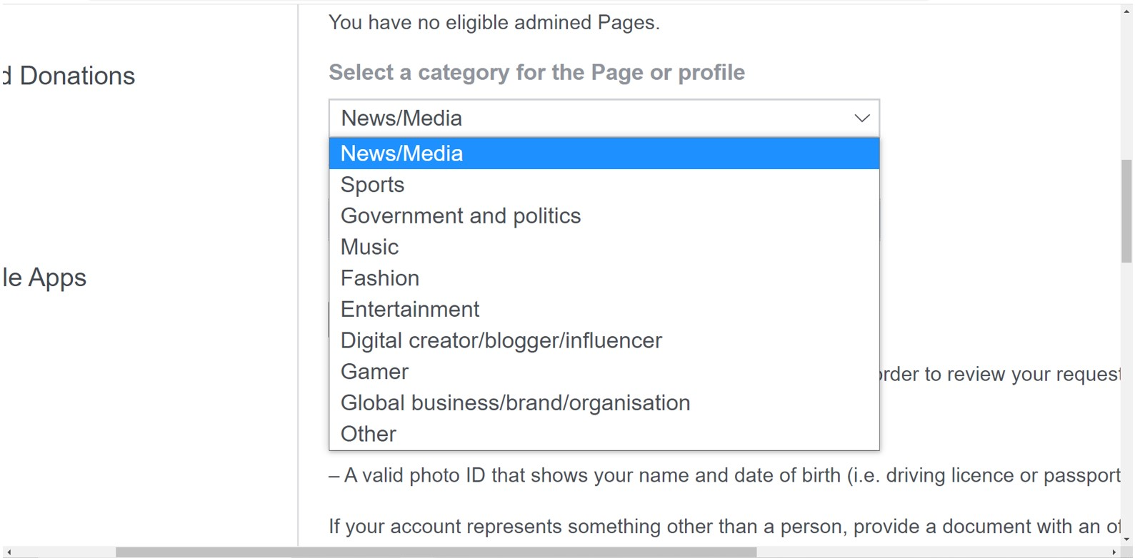 Step 2- Select the right category for your account-How to Verify a Facebook Page in 2022 with 6 Easy Hacks